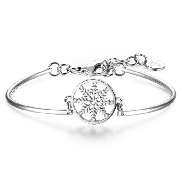 SNOWFLAKE: LIGHTNESS OF BEING, ELEGANCE, DELICACYGraceful snowflakes fall from the sky, symbolizing elegance and grace. Like butterflies in winter, they embody delicacy, purity and perfection.316L Stainless steel bracelet and crystal Swarovski®crystals.