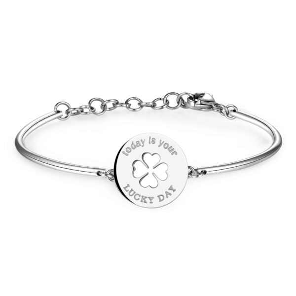 FOUR-LEAF CLOVER: PROSPERITY, LUCK, HEALTHENGRAVED:Today is your lucky dayIts rarity has made the four-leaf clover a symbol of good luck. Irish tradition gives each leaf its own significance: Respect, Abundance, Love and Health. 316L Stainless steel bracelet.