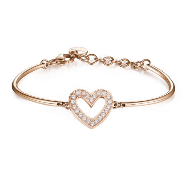 HEART: PURITY, DEVOTION, SINCERITYRepresenting man's innate spirituality, sensitivity and morality. The heart symbolises the centre of our being, the place where deep meanings are revealed, beyond the connections determined by rational thought.316L Stainless steel and pink gold PVD bracelet with central heart and Swarovski® Elements crystals.