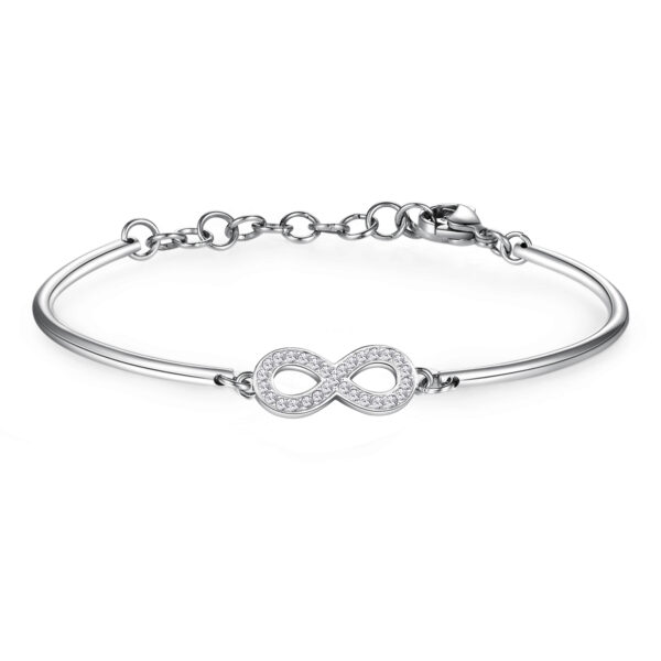 INFINITY: PASSION, MYSTERY, SENTIMENTThe infinity symbol represents a dynamic stimulus for the mind to act, seek answers and explore the unknown corners of reality. As an symbol of eternity it expresses a firm intent to dedicate your life to something or someone else.316L Stainless steel bracelet with infinity symbol and Swarovski® Elements crystals.