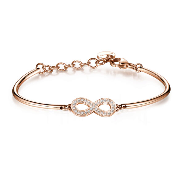 INFINITY: PASSION, MYSTERY, SENTIMENTThe infinity symbol represents a dynamic stimulus for the mind to act, seek answers and explore the unknown corners of reality. As an symbol of eternity it expresses a firm intent to dedicate your life to something or someone else.316L Stainless steel and pink gold PVD bracelet with infinity symbol and Swarovski® Elements crystals.