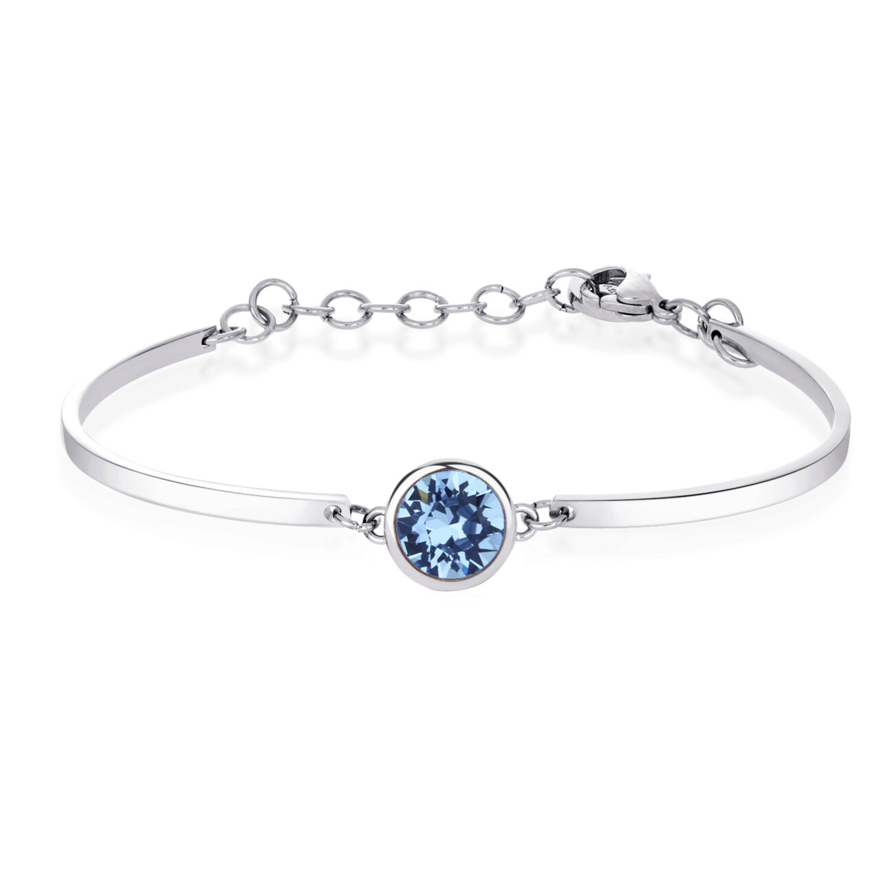 ACQUAMARINE CRYSTAL: EMPATHY, CHANGE, CALMImproves communication and helps rid you of old, negative feelings. A great way to fight stress and anxiety as it encourages change and stimulates the courage to move on. 316L Stainless steel bracelet with Swarovski® Elements crystal.