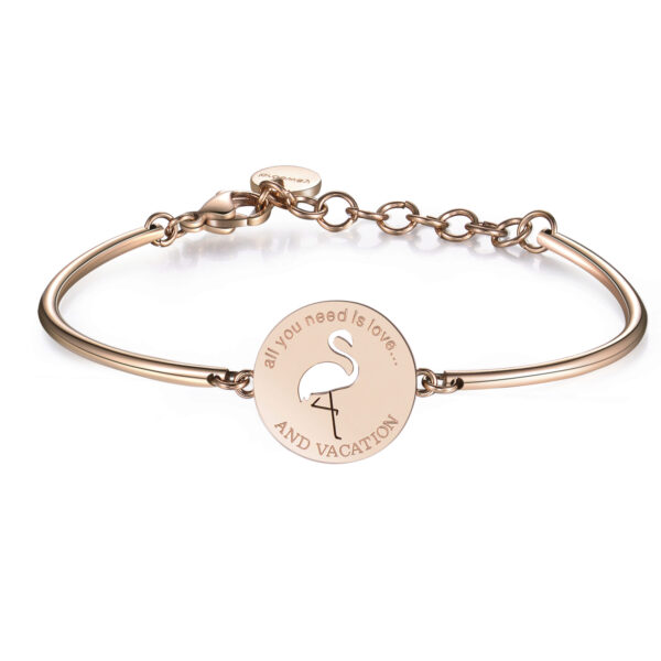 PINK FLAMINGO:ELEGANCE, POSITIVITY, JOYENGRAVED:All you need is love...and vacationThe bright pink and elegant bearing of the pink flamingo spreads positive vibes, cheerfulness and joie de vivre. 316L Stainless steel bracelet, rose gold PVD and Swarovski® crystals.