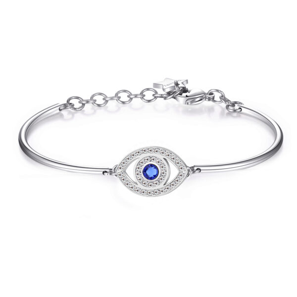 EYE: PROFOUNDNESS, INTROSPECTION, TRUTHThe eye is the mirror of the soul. It sees your outer and inner self, revealing your emotions and feelings. This symbol promotes reflection and balance. 316L Stainless steel bracelet with engraved disc and Swarovski® crystals.