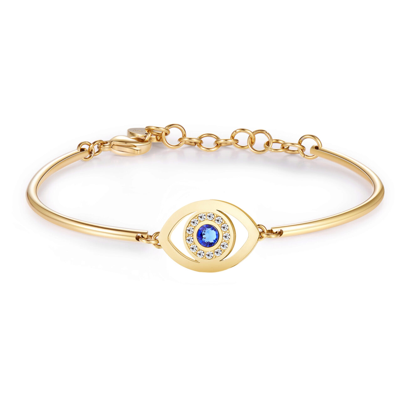 EYE: PROFOUNDNESS, INTROSPECTION, TRUTHThe eye is the mirror of the soul. It sees your outer and inner self, revealing your emotions and feelings. This symbol promotes reflection and balance. 316L Stainless steel bracelet, gold PVD with engraved disc and Swarovski® crystals.