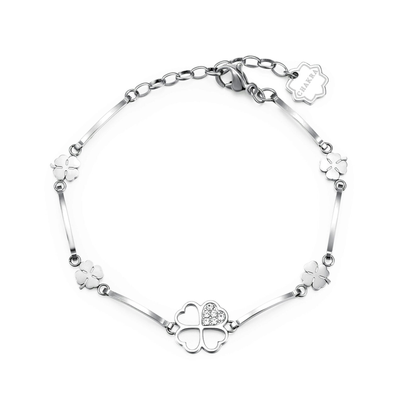 4-LEAF CLOVER: COURAGE, LUCK, LIFE ENGRAVING:Lucky you (back)If you want something you've never had, you must be willing to do something you've never done.Those who lack courage, lack success.Get ready to take a leap of faith, life on the other side is pretty spectacular.316L stainless steel bracelet with crystals