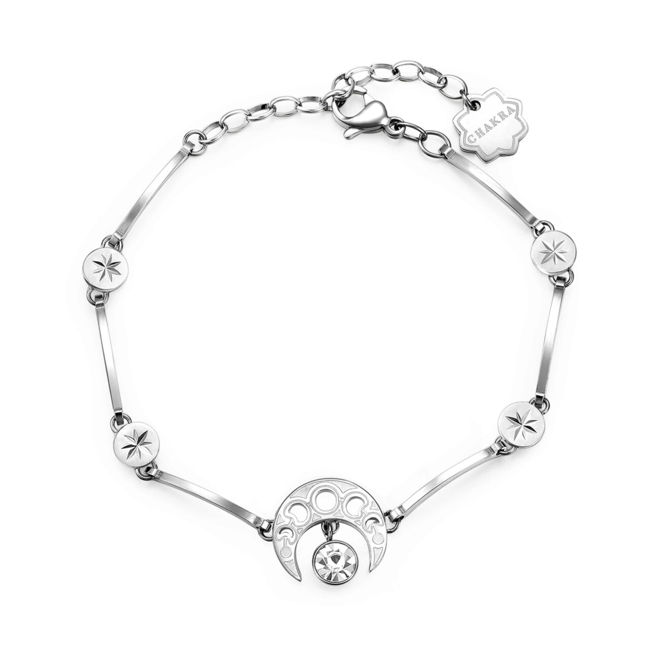 CRESCENT MOON: GROWTH, CHOICE, POSITIVITYThe waxing crescent moon presents the perfect opportunity to try new things, set new goals, tackle new challenges and make important life choices. It is a symbol of energy and one that exudes a sense of well-being and positivity.316L stainless steel bracelet with crystals.