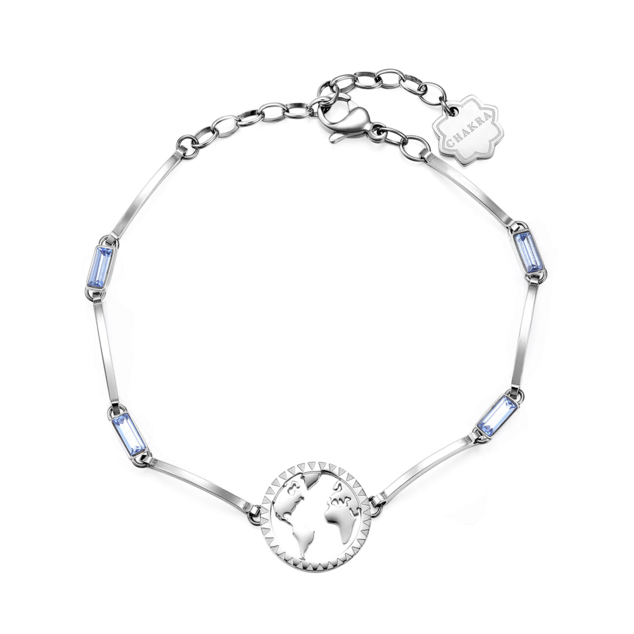 WORLD: TRAVEL, DISCOVER, REMEMBER Go where others have never gone before. Travel with your heart and mind and discover remote places you never knew existed. The path you travel will leave its mark on your soul.316L stainless steel bracelet with light sapphire crystals.