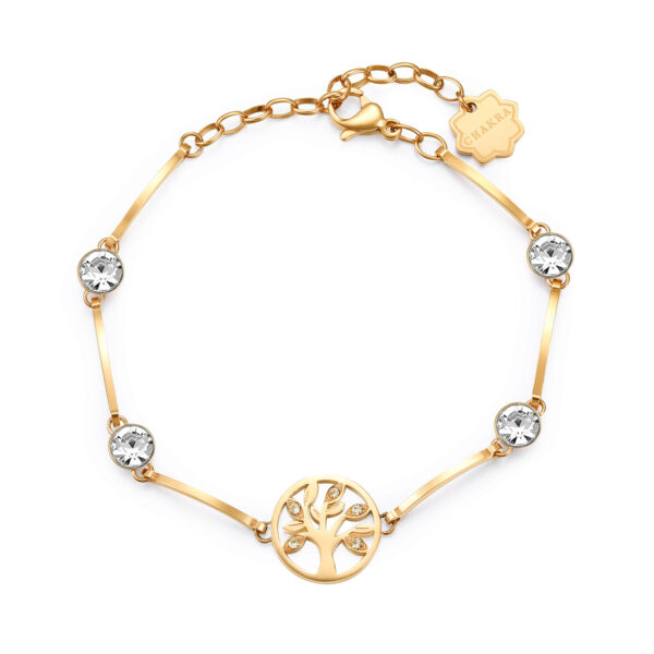 THE TREE OF LIFE: LIFE, LUCK, EVOLUTIONA symbol of life evolving through space and time. The tree of life represents a desire for a rich, meaningful existence built on solid foundations. A good luck charm for your next adventure.316L stainless steel bracelet and gold finishes with crystals.