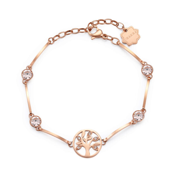 THE TREE OF LIFE: LIFE, LUCK, EVOLUTIONA symbol of life evolving through space and time. The tree of life represents a desire for a rich, meaningful existence built on solid foundations. A good luck charm for your next adventure.316L stainless steel bracelet and rose gold finishes with crystals.