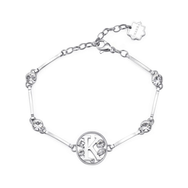 LETTER K: ACHIEVEMENT, LOVE, BOLDNESSThose whose name starts with the letter 'K' have the desire to emerge and succeed. Ks are individuals with sudden inspirations, who totally dedicate themselves to the things in which they believe. They are great at giving love and are very bold.316L stainless steel bracelet with letter and crystal crystals.