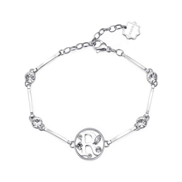 LETTER R: DETERMINATION, AMBITION, SENSITIVITYThose whose name starts with the letter 'R' have outstanding leadership skills, with all the qualities necessary to be able to aim at and reach high levels at work. Rs are ambitious individuals with a sensitive soul.316L stainless steel bracelet with letter and crystal crystals.