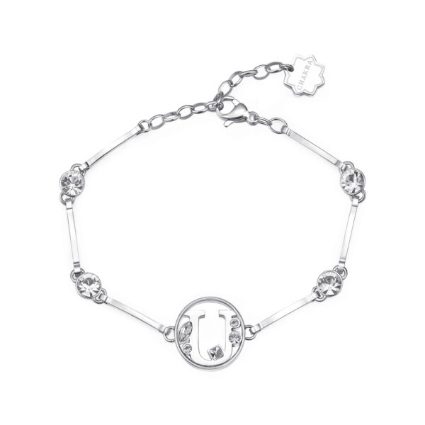 LETTER U: SOCIABILITY, PRUDENCE, VANITYThose whose name starts with the letter 'U' are torn between head and heart. Us are very sociable individuals, who are rather habitual and cautious and like being flattered and courted.316L stainless steel bracelet with letter and crystal crystals.