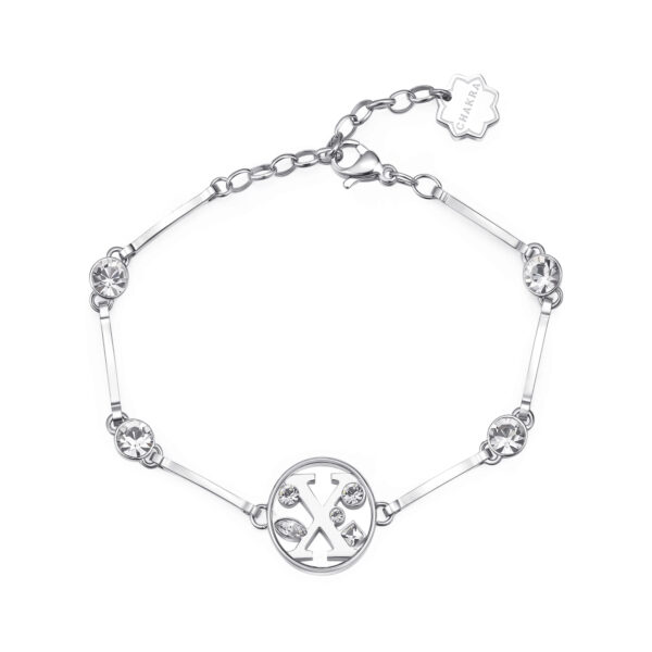LETTER X: INTUITION, TALKATIVENESS, IDEALISMThose whose name starts with the letter 'X' have a bent for financial issues and are highly intuitive in business. Xs are talkative individuals who hold dear their ideals.316L stainless steel bracelet with letter and crystal crystals.