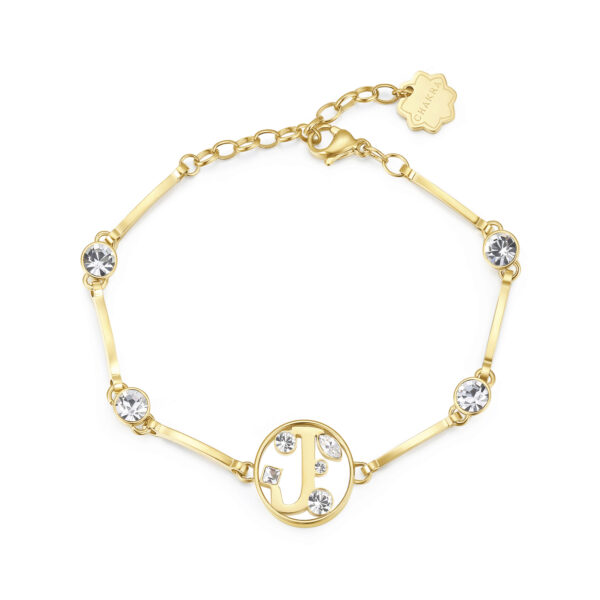 LETTER J: AMBITION, WILLPOWER, SUCCESSThose whose name starts with the letter 'J' will have a very fulfilling life. Js are eager to win, succeed in what they do and often get rewards and make progress at work. They have extraordinary willpower and sense of initiative.316L stainless steel bracelet and gold finishes with letter and crystal crystals.