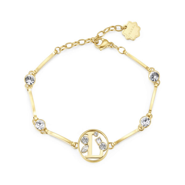 LETTER L: ABILITY, COMMUNICATION, LIBERTYThose whose name starts with the letter 'L' have great literary skills. Ls love communicating with others and expressing all their feelings. They don't like taking orders from anyone, hate restrictions and want to feel free.316L stainless steel bracelet and gold finishes with letter and crystal crystals.