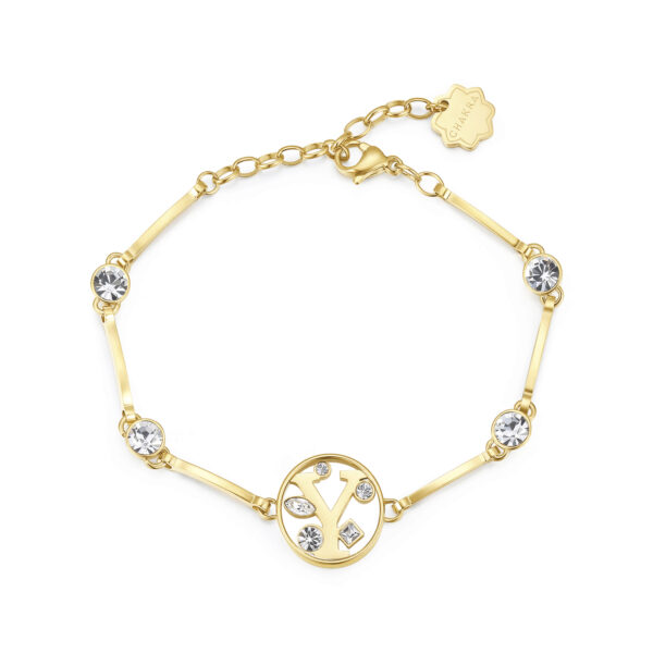 LETTER Y: CURIOSITY, SENSUALITY, LIBERTYThose whose name starts with the letter 'Y' are passionate and curious, sensual and dominant. Ys are free, independent individuals always looking for new stimuli.316L stainless steel bracelet and gold finishes with letter and crystal crystals.