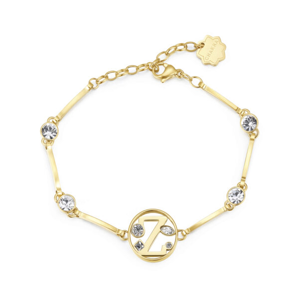 LETTER Z: UNDERSTANDING, INTUITION, COMPETITIVENESSThose whose name starts with the letter 'Z' are understanding, devoted to their family and have a nose for business. Zs are highly intuitive individuals who love putting themselves to the test just for the simple pleasure of winning.316L stainless steel bracelet and gold finishes with letter and crystal crystals.