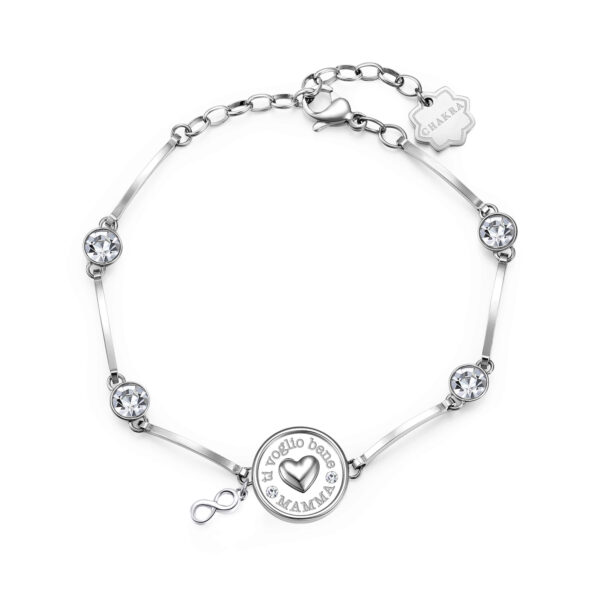 I LOVE YOU MOM: INCISIONE:I love you Mom (front)Dear mum, thank you for always being there for me, for loving me and for taking care of me. You are the queen of a limitless space and time. You'll be in my heart forever.316L stainless steel bracelet with heart, pendants and crystals.