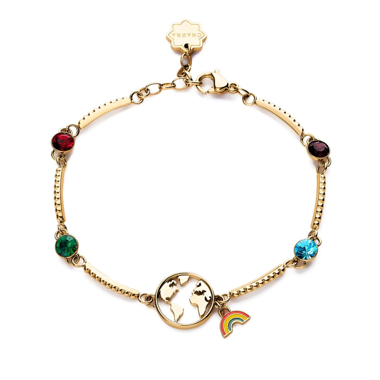 WORLD: TRAVEL, DREAM, INITIATIVEGo where others have never gone before. Travel with your heart and mind and discover remote places you never knew existed. The path you travel will leave its mark on your soul.316L stainless steel bracelet, gold pvd with world, enamel and coloured crystals.