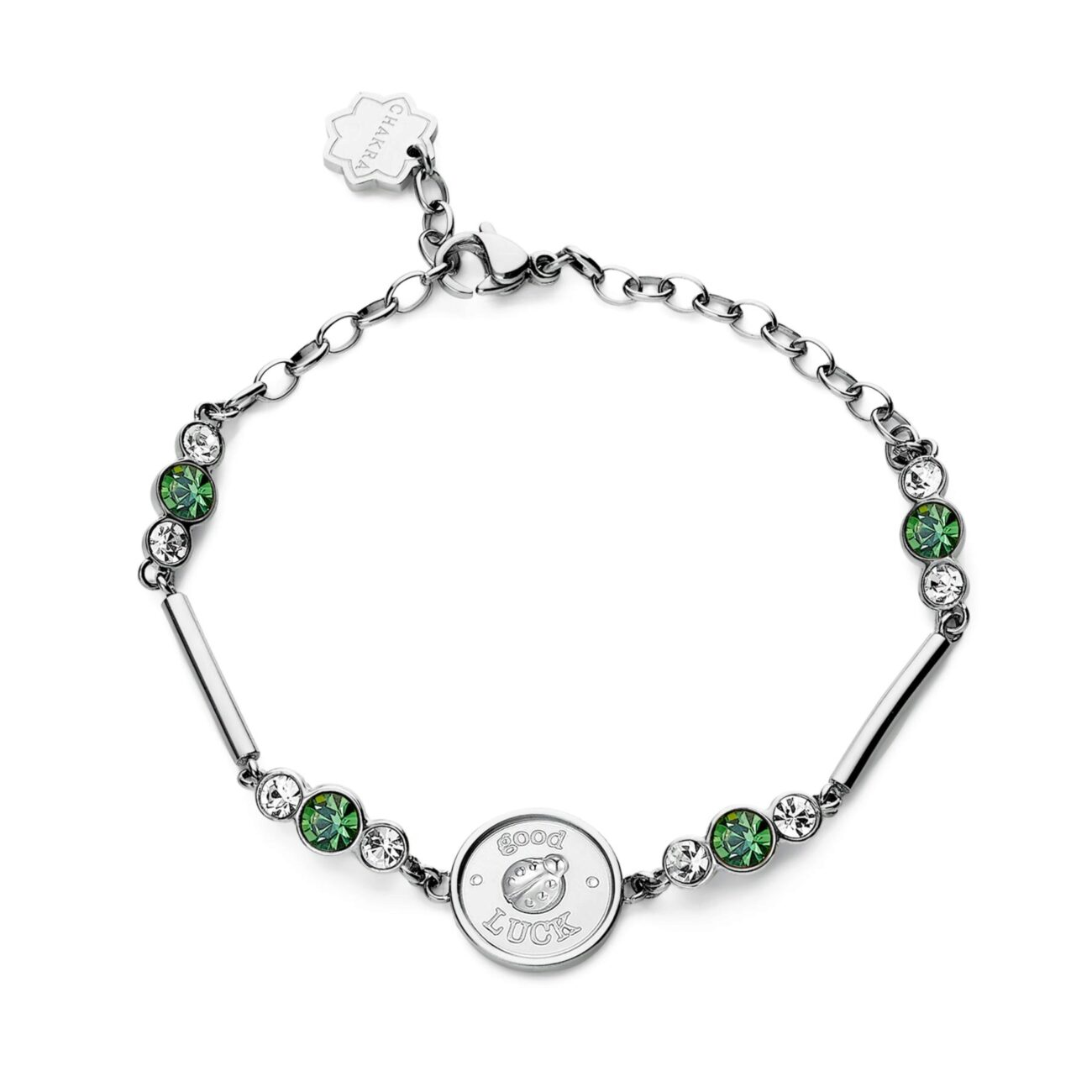 LADYBIRD: HAPPINESS, PROTECTION, LUCKENGRAVED: Good luck (front)-Luck (back)With its elegant, coloured livery that keeps predators at bay and protects its wings, the ladybird represents our need to defend that which we hold most dear so that we can be happy.317L stainless steel bracelet with ladybird, crystals and erinite crystals.