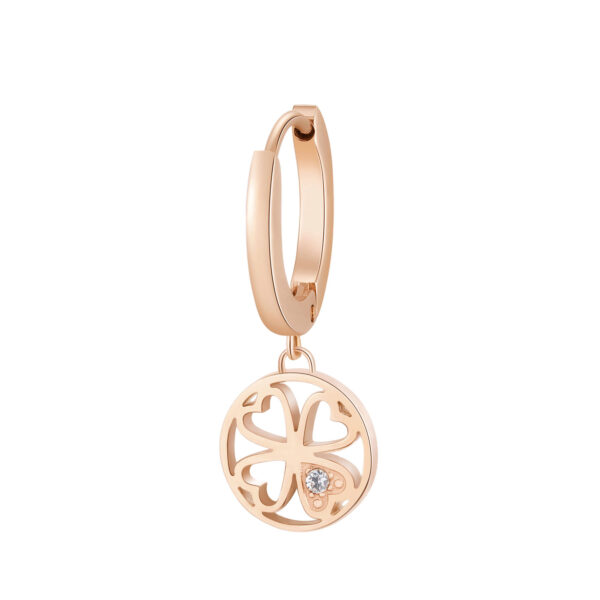 Single earring in 316L stainless steel, rose gold finish with four-leaf clover pendant and crystals.