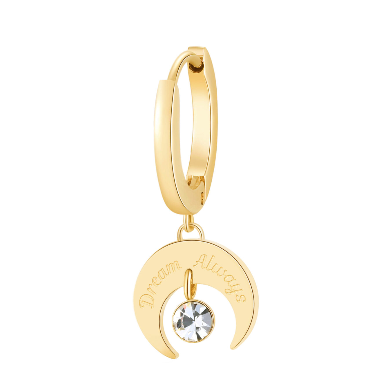"""Single earring in 316L stainless steel, gold finish with crescent moon pendant and """"Always dream"""" engraving and crystal."""