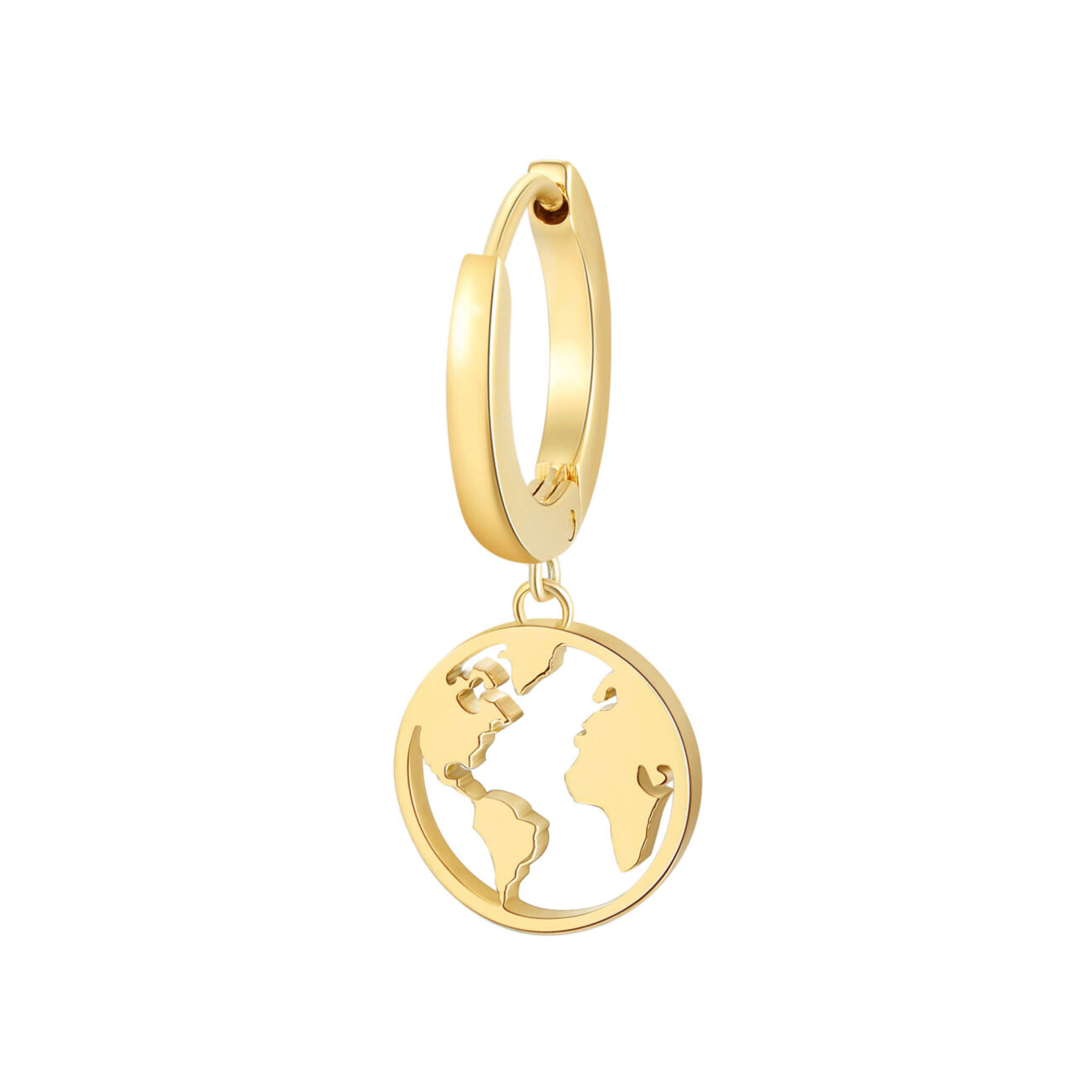 Single earring in 316L stainless steel, gold finish with globe-shaped pendant.