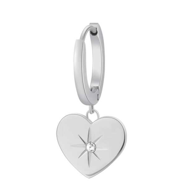 Single earring in 316L stainless steel, with heart-shaped pendant and crystal.