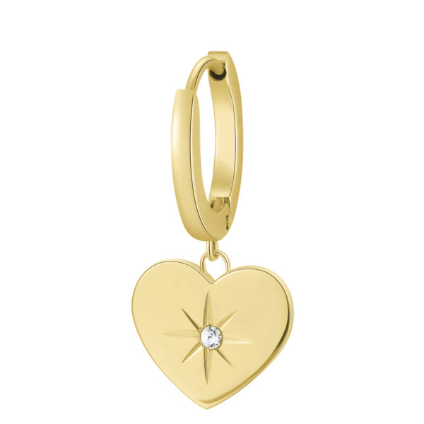 Single earring in 316L stainless steel, gold finish with heart-shaped pendant and crystal.