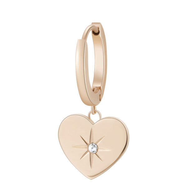 Single earring in 316L stainless steel, rose gold finish with heart-shaped pendant and crystal.
