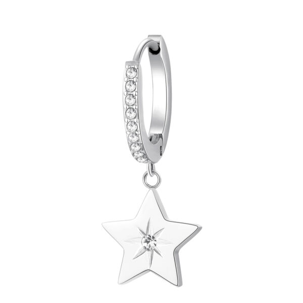 Single earring in 316L stainless steel, with star-shaped pendant and crystal.