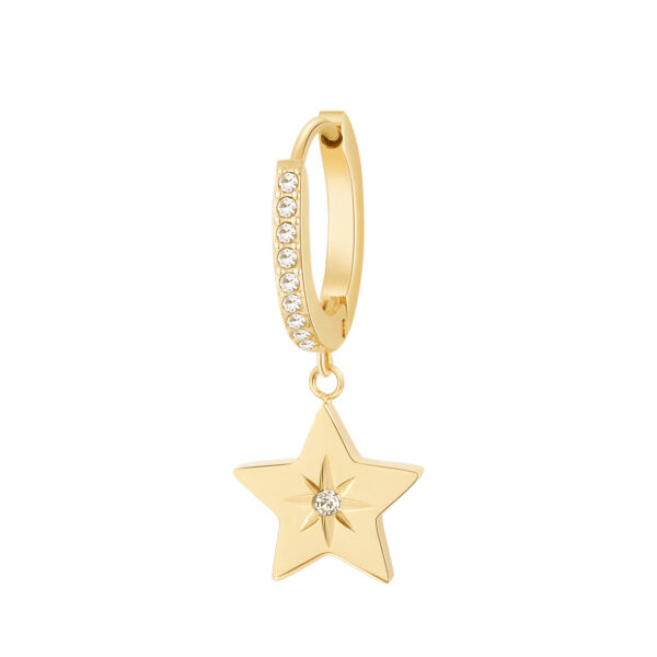 Single earring in 316L stainless steel, gold finish with star-shaped pendant and crystal crystals.