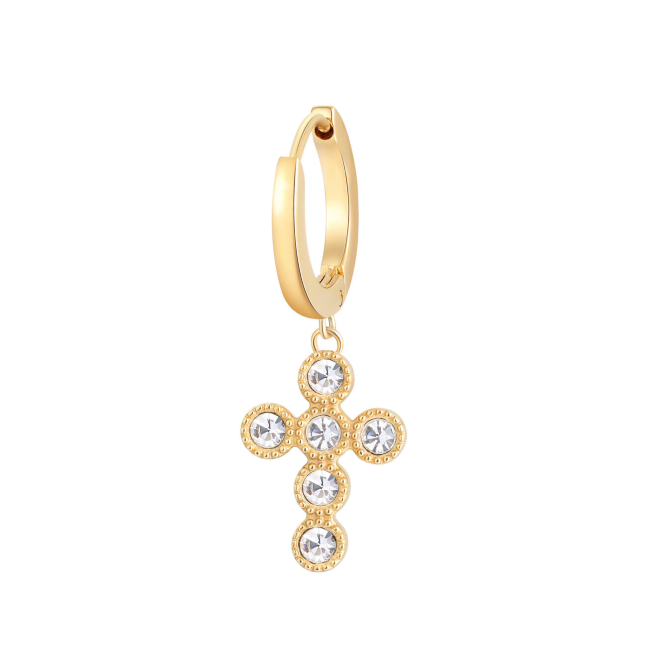 Single earring in 316L stainless steel, gold finish with cross-shaped pendant and crystal.
