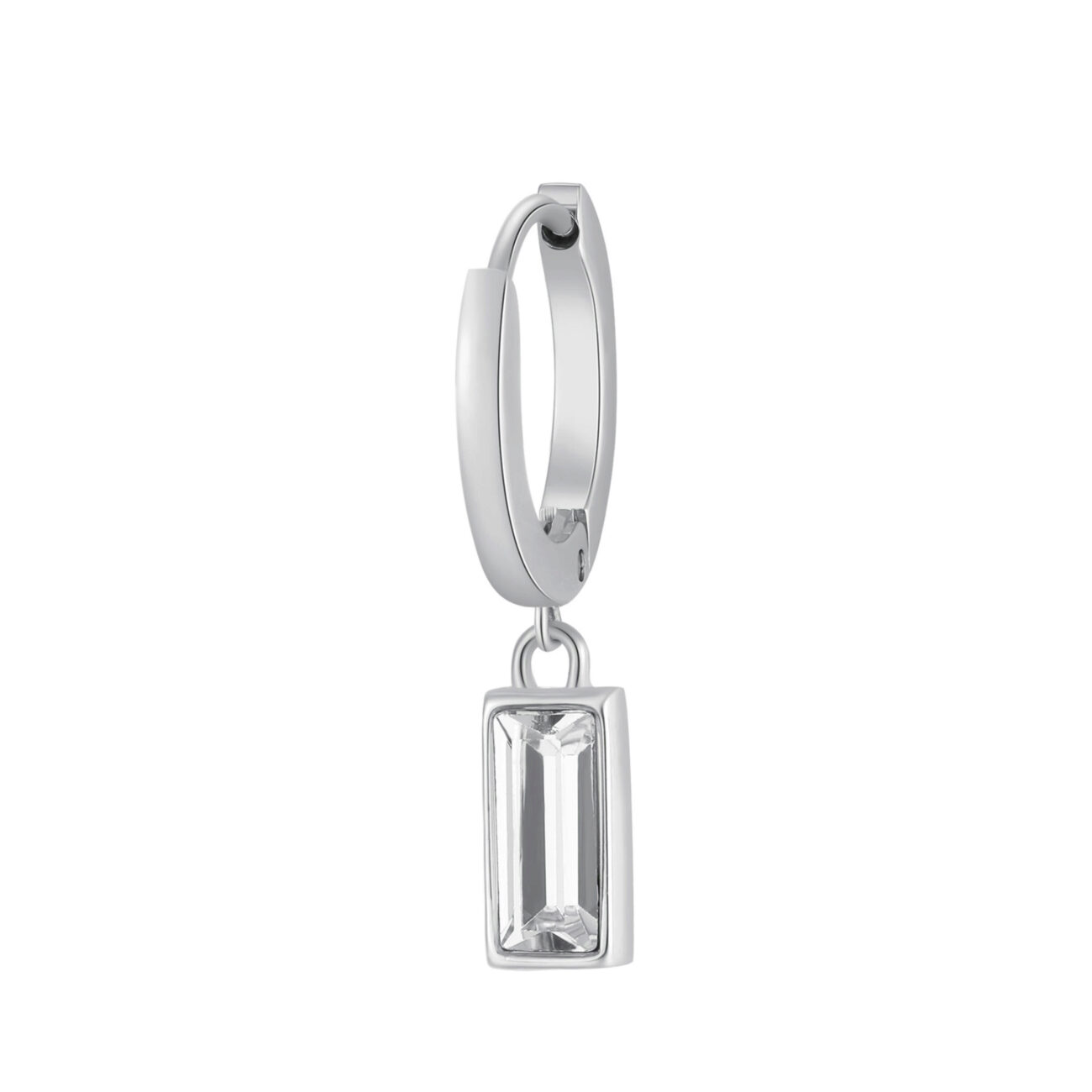 Single earring in 316L stainless steel with pendant with crystal.