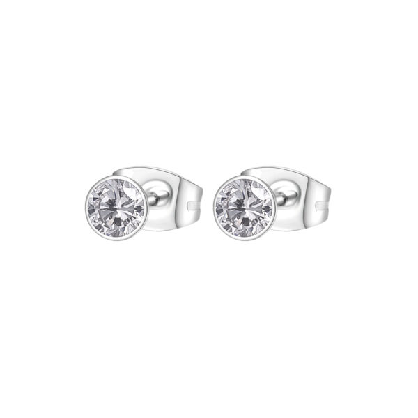 316L stainless steel earrings with white cubic zirconia.