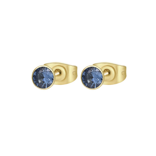 316L stainless steel earrings and gold finishes with spinel cubic zirconia.
