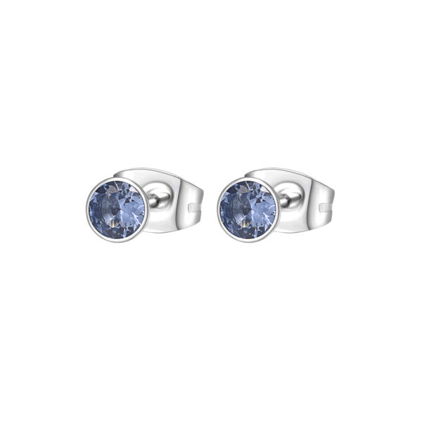 316L stainless steel earrings with spinel cubic zirconia.