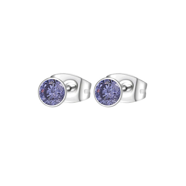 316L stainless steel earrings with tanzanite cubic zirconia.
