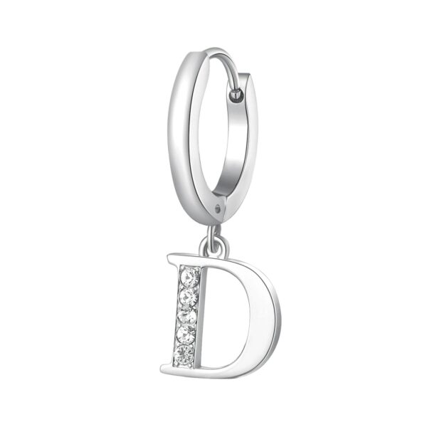 Single earring in 316L stainless steel with letter pendant and crystals.