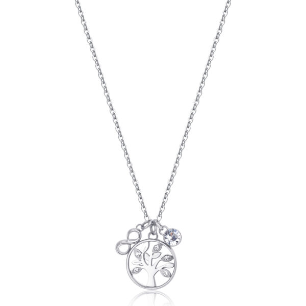 316L stainless steel necklace with tree of life and infinity-shaped pendant and crystals.