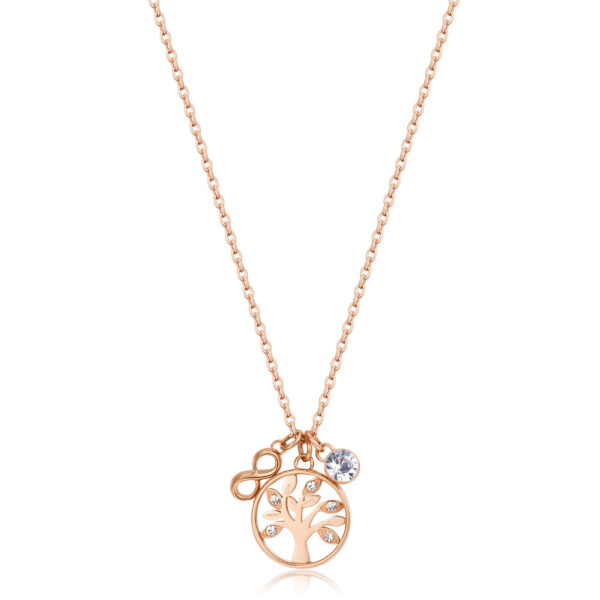 316L stainless steel and rose gold finish necklace with tree of life and infinity-shaped pendant and crystals.