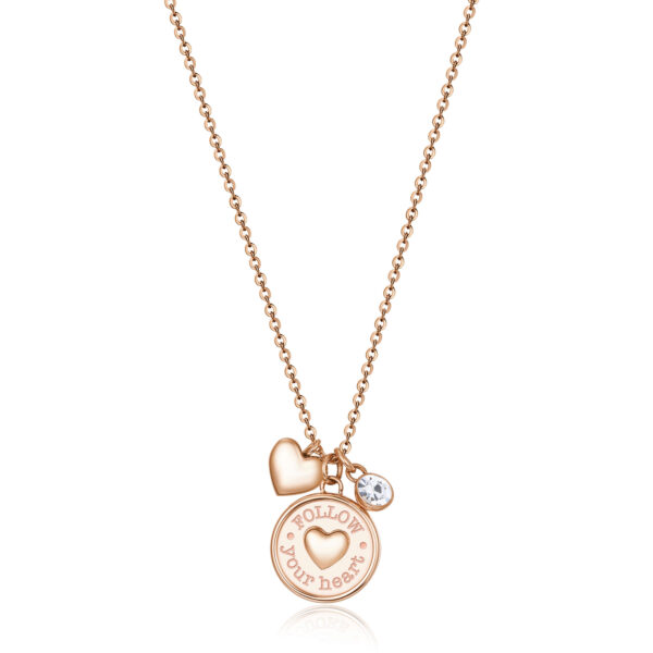 """316L stainless steel and rose gold finish necklace with heart and """"listen to your heart"""" engraving, heart-shaped pendant and crystal."""