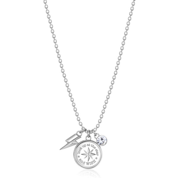 """316L stainless steel necklace with compass rose and """"make a wish"""" engraving, with lightning bolt-shaped pendant and crystal."""
