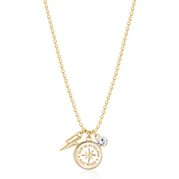 """316L stainless steel and gold finish necklace with compass rose and """"make a wish"""" engraving, with lightning bolt-shaped pendant and crystal."""