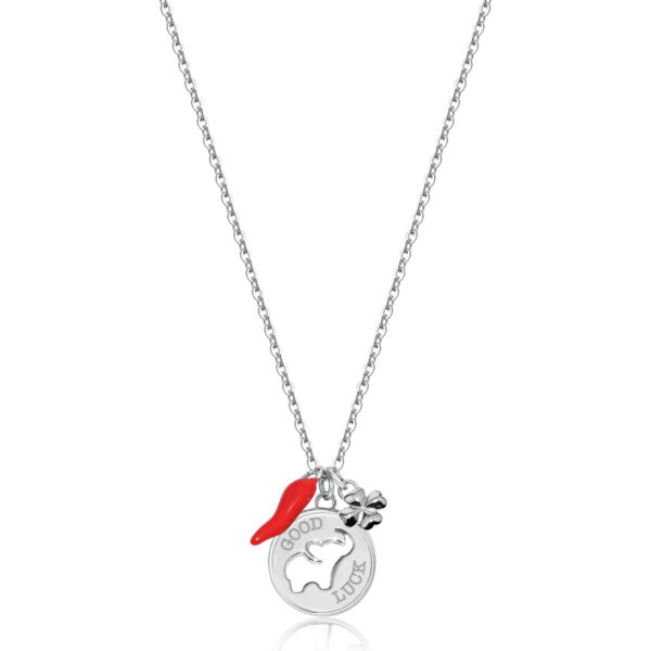 """316L steel necklace with elephant and """"Buona Fortuna"""" engraving with four-leaf clover-shaped pendant and horn with red enamel."""