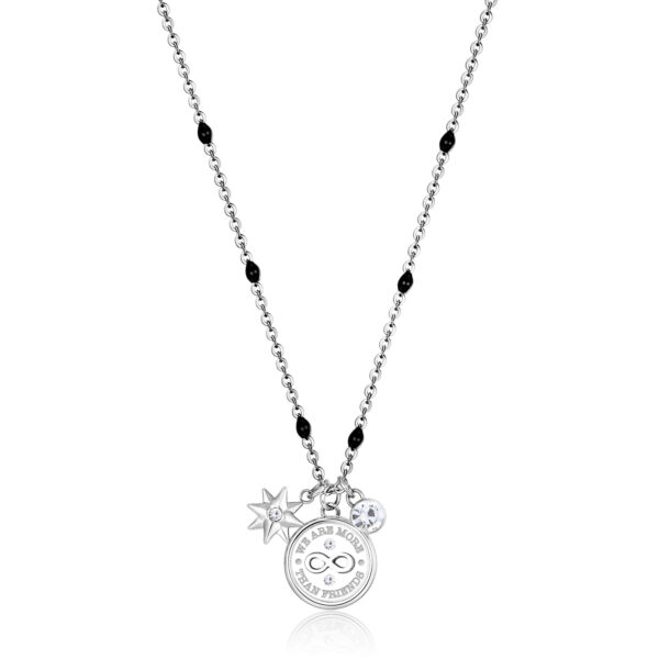 """316L stainless steel necklace with infinity and """"a friend is forever"""" engraved with a North Star pendant and crystal crystals."""