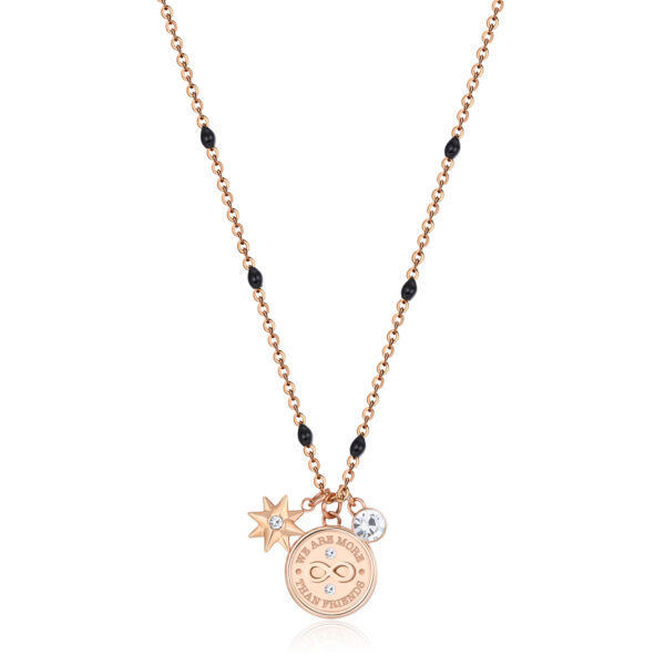 316L stainless steel necklace, rose gold finish with infinity and a friend is forever engraving with a polar star pendant and crystal.