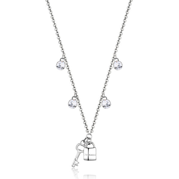 316L stainless steel necklace with lock and key shaped pendants and crystals.