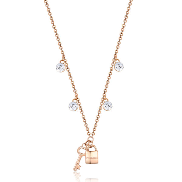 316L stainless steel necklace, rose gold finish with lock and key pendants and crystals.